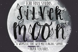 Silver Moon Font + Extras