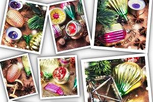 Collage with christmas retro decorat