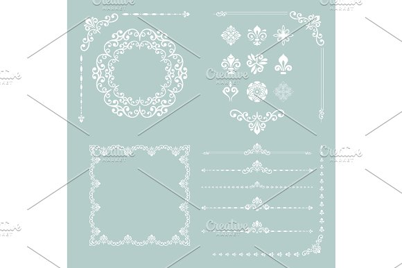 Vintage Set Of Vector Horizontal Square And Round Elements