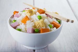 Chinese style three delights rice