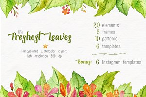 Freshest Leaves: Watercolor Clip Art