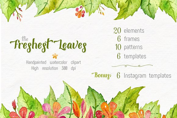 Freshest Leaves Watercolor Clip Art