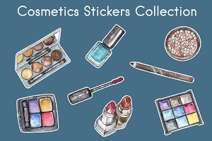Cosmetics Stickers Vector Collection
