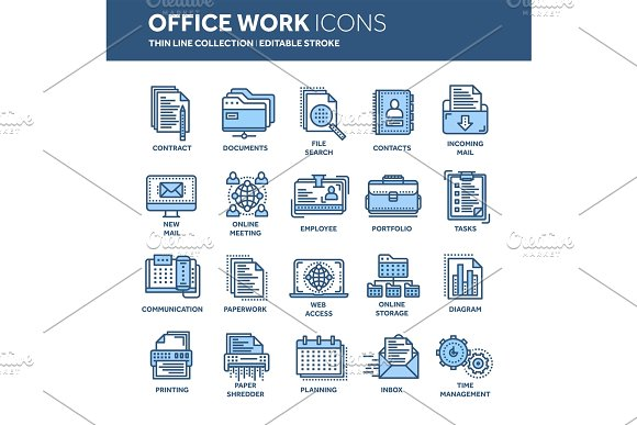 Business And Office Work Documents Paperwork Businessman Thin Line Blue Web Icon Set Outline Icons Collection Vector Illustration