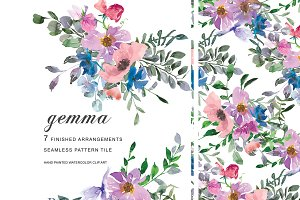 Watercolor Colorful Florals Clipart
