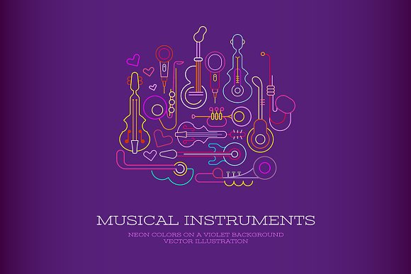Musical Instruments Neon