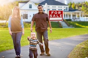 Family in Front of House, Sale Sign