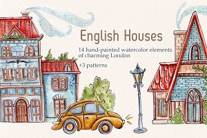 English Houses Set + 3 patterns