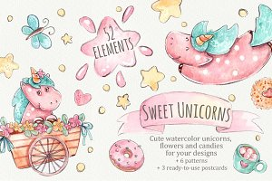 Sweet Unicorns Set +Patterns +Cards