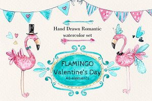 Flamingo Romantic set +4 frames