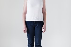 Portrait of white woman full body