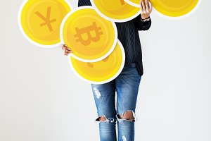 Woman with money currency icons