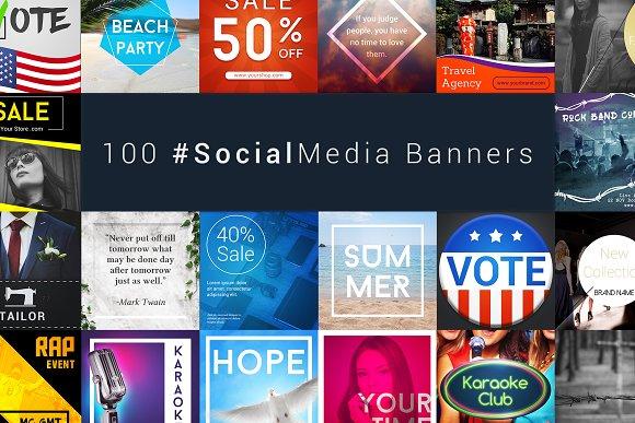 100 Social Media Banners Bundle