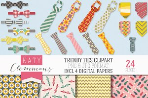 Trendy Ties clip art pack
