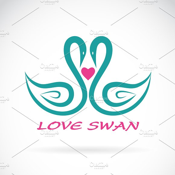 Vector Of Two Swan And Heart Animal
