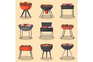 Barbecue grill with food isolated set