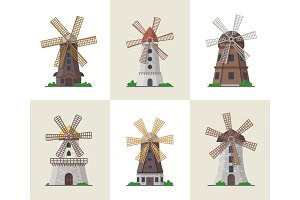 Traditional old windmill buildings set