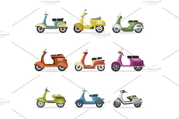 Vintage Scooters Set Isolated On White