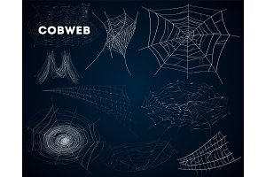 Spider cobwebs various forms isolated set