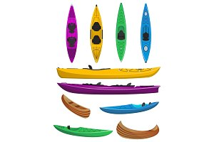 Plastic colorful kayaks isolated set