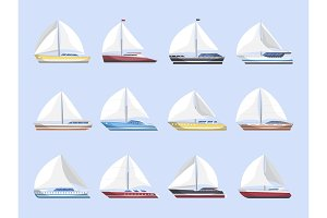 Sea sailboats side view isolated set