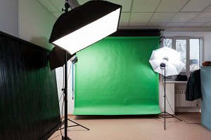 Photostudio with studio equipment