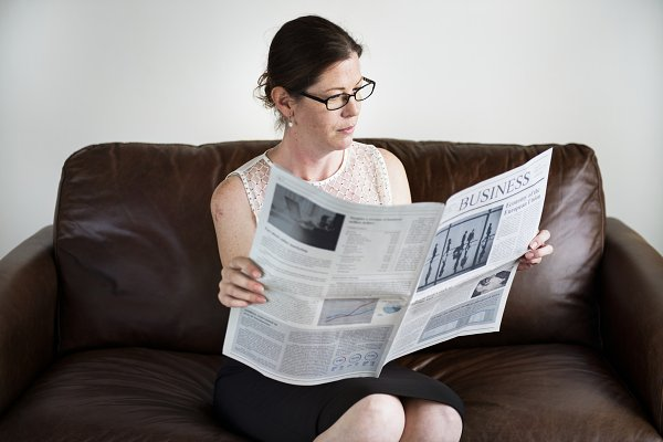 Businesswoman sitting on a couch