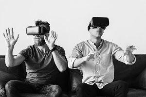 Men enjoying VR