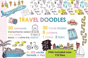 Let's travel doodles. Big set
