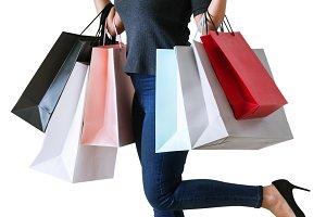 Woman enjoy shopping (PSD)