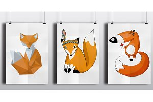 3 different style red foxes set