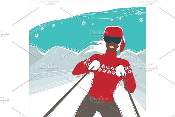 Glamour Girl Skiing Winter Sports Illustration