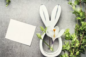 Easter flowers and bunny decor