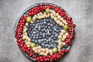 Plate with various colorful berries