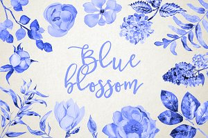 Watercolor Blue Blossom Clipart Set