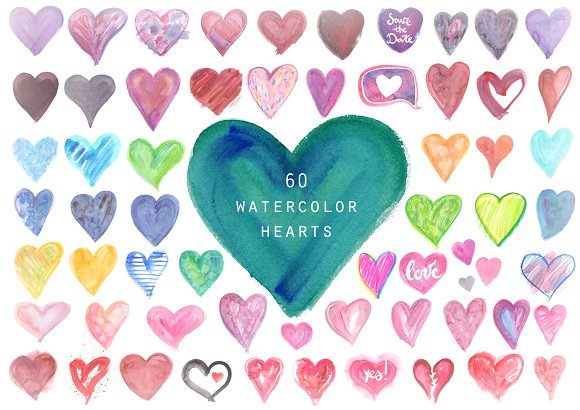 Watercolor Hearts Background Set
