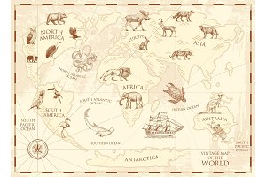 Vintage world map with wild animals.