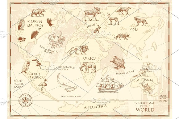 Vintage World Map With Wild Animals