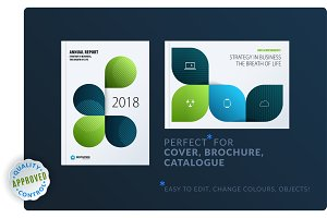 Creative design of brochure set, abstract annual report, horizontal cover layout, flyer in A4 with vector colourful