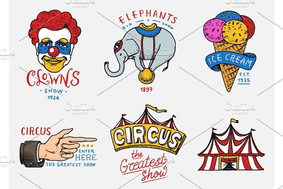 Carnival Circus Badge Banner Or Poster With Animals Clown And Elephant Ice Cream And Focus Magic In The Tent Festival With Actors Engraved Emblem Hand Drawn Entertainment Theater And Marquee
