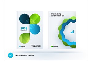Set of design brochure, abstract annual report