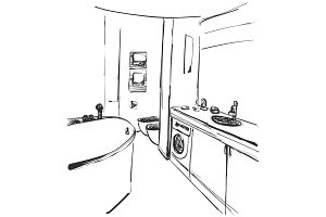 Hand drawn Bathroom interior. Mirror, washbasin and other furniture