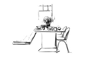 Hand Drawn wares. Dinner family. Flowers and dishes. Kitchen interior