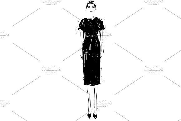 Beautiful Young Girl In The Dress Fashion Model Sketch Drawing