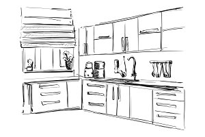 Kitchen interior drawing, vector illustration. Furniture sketch
