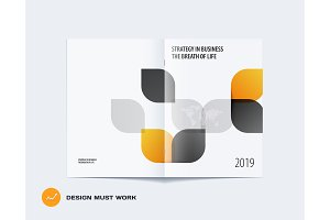 Creative design of brochure set, abstract annual report, horizontal cover layout, flyer in A4 with vector colourful rounded shape