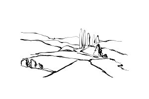 Hand drawn landscape. Field, tree and hill.