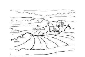 Farm Hills Drawing. Landscape sketch. Field and house.