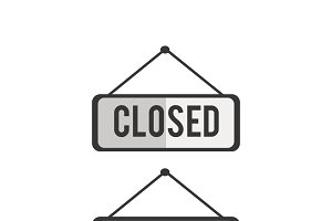 Illustration of open and close sign