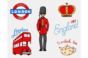 British Logo, Crown and Queen, teapot with tea, bus and royal guard, London and the gentlemen. symbols, badges or stamps, emblems or architectural landmarks, United Kingdom. Country England label.